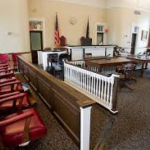 hall of justice courtroom with jury seating